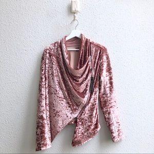 Blank NYC Crushed Velvet Blush Pink Moto Jacket